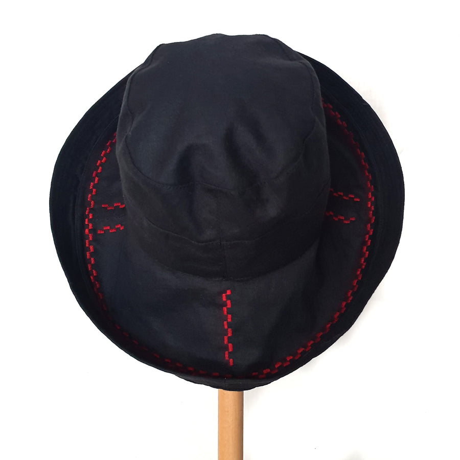 Wide Brimmed Hat - red embroidery