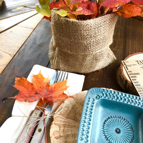 table top burlap bags