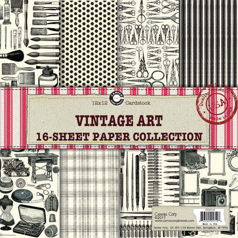vintage art studio artist paper themed collection mixed media