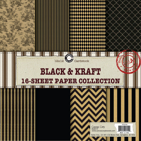 kraft and black printed paper