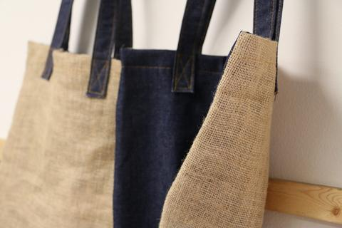 burlap and denim screen print blank tote bag