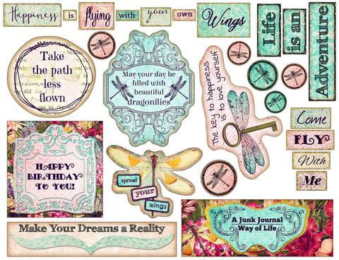 dragonfly delight printable art and fussy cut art