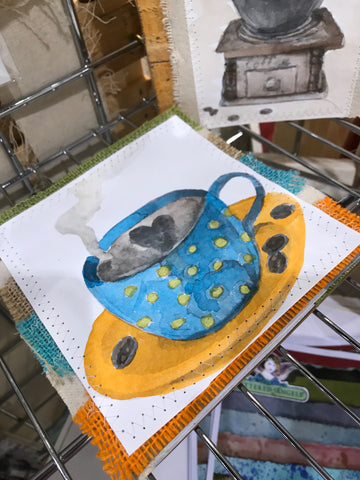 watercolor coffee mug