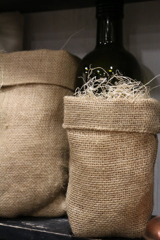 burlap basket bag