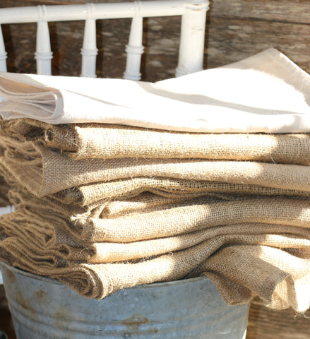 cotton and burlap table runners