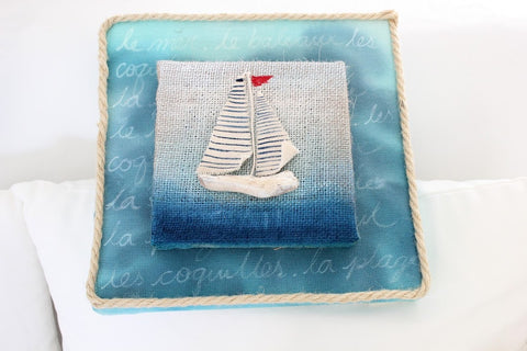 painted burlap with Glimmer Mist Nautical