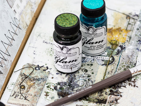 Add glitter to mixed media projects