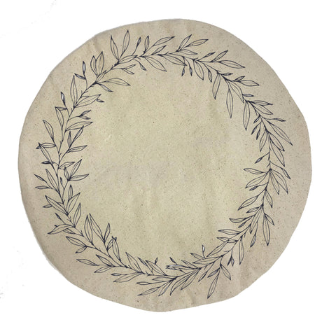 screen printed round pillow wreath canvas