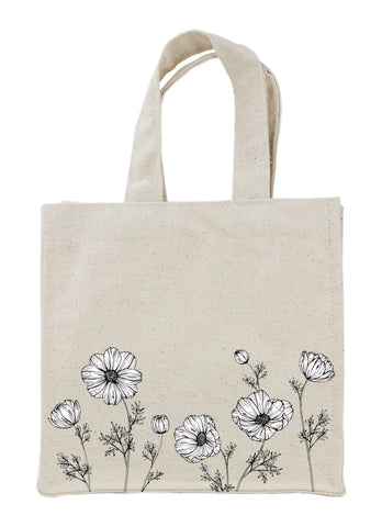 black and white poppy floral screen print canvas tote bag wholesale screen print canvas corp