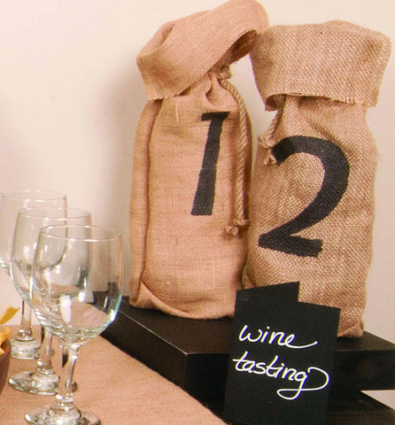 wine tasting ideas - colored wine totes