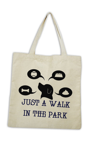 just a walk in the park dog tote bag custom screen print optional