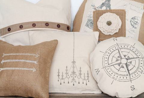 embroidery and sewing machine art on pillows and blanks