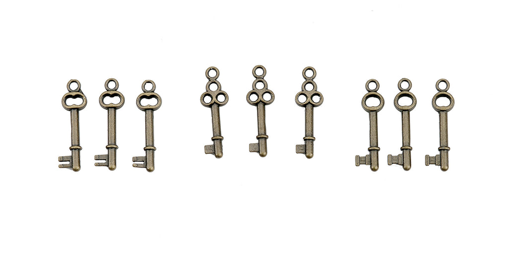 7gypsies Miniature Antique Brass Metal Keys