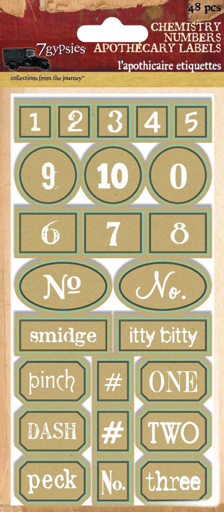 7gypsies Apothecary Labels - Chemistry Numbers
