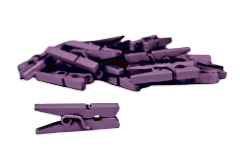 Mini Clothespins - Purple (25 Pieces)