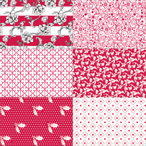 Red Patchwork on White Paper