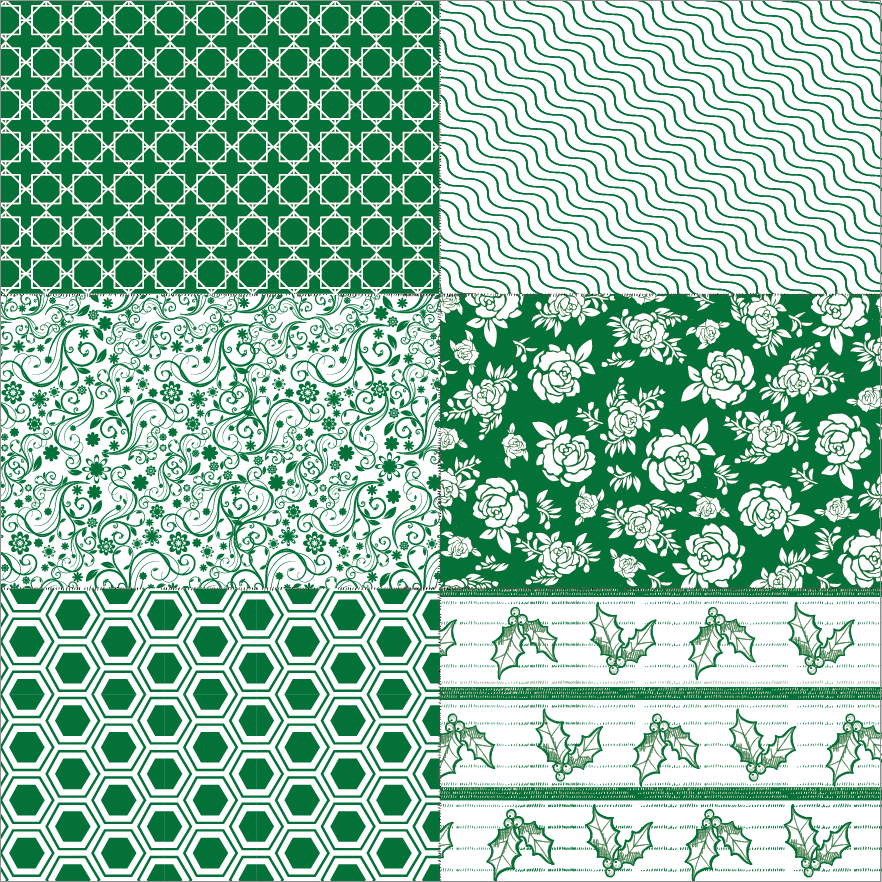 Hunter Green Patchwork on White