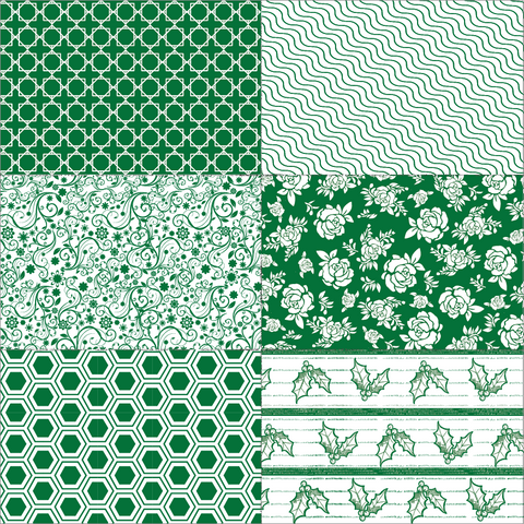 Hunter Green Christmas Patchwork on White Paper