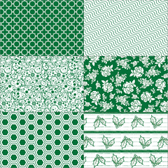 Hunter Green Patchwork on White Paper