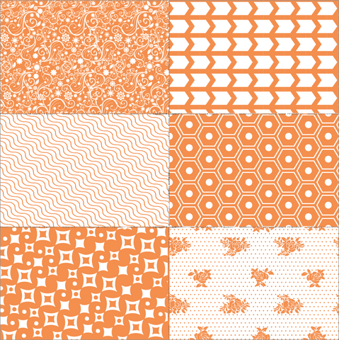Orange Patchwork on White Paper
