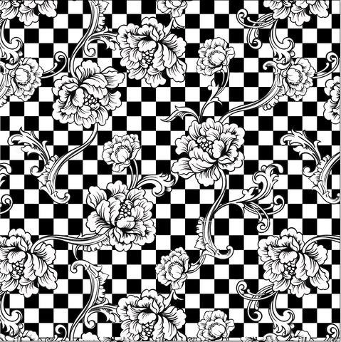 Black and White Check with Flowers