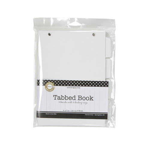 Tabbed White Chipboard Book 5x7