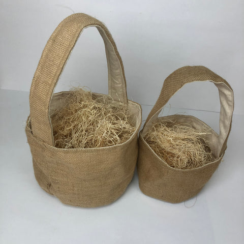 Fabric Basket - Burlap with Canvas Lining (2 sizes)