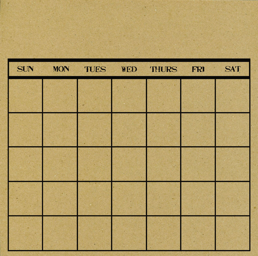 Black and Kraft Calendar Paper with Stamped Days of the Week