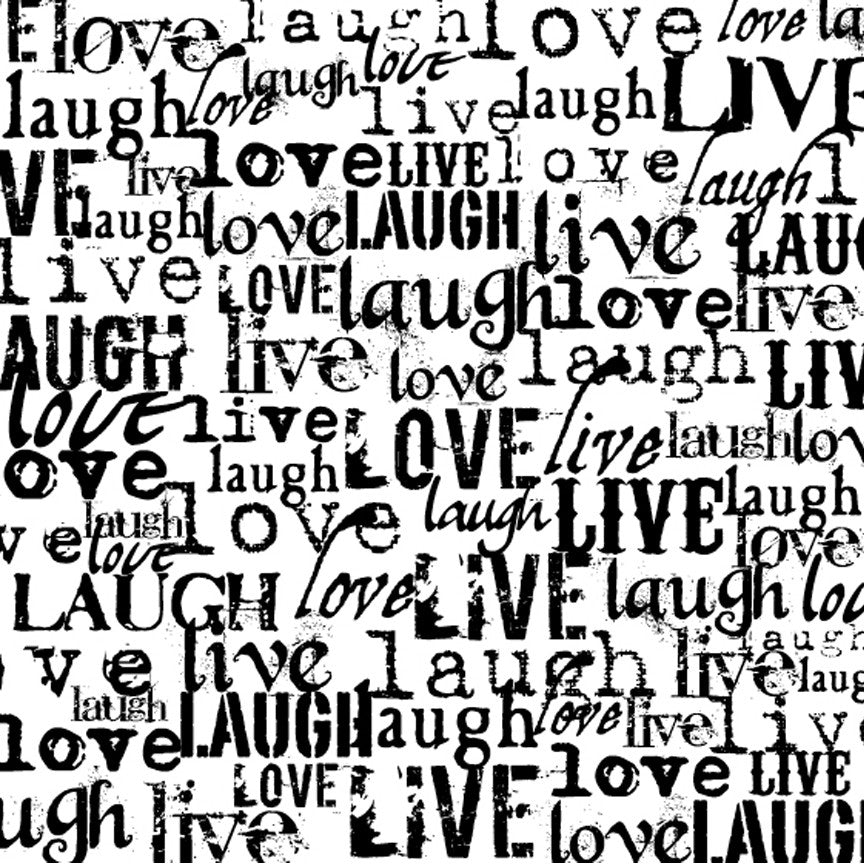 Black and White Live Love Laugh Paper