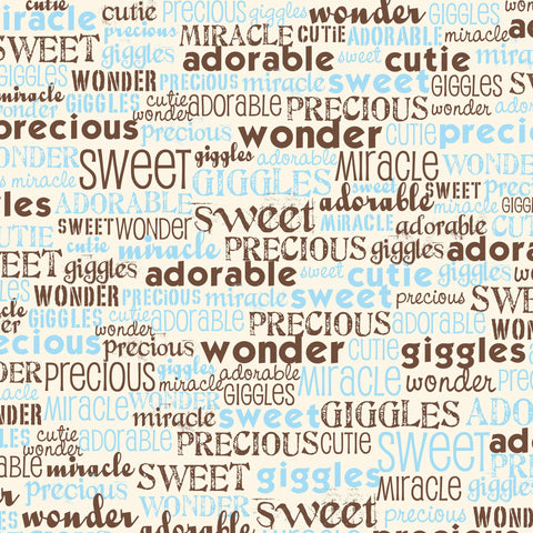 Baby Boy: Blue and Ivory Baby Words Paper