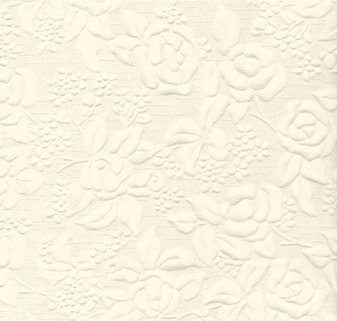 Handmade Paper - Embossed Large Floral Ivory