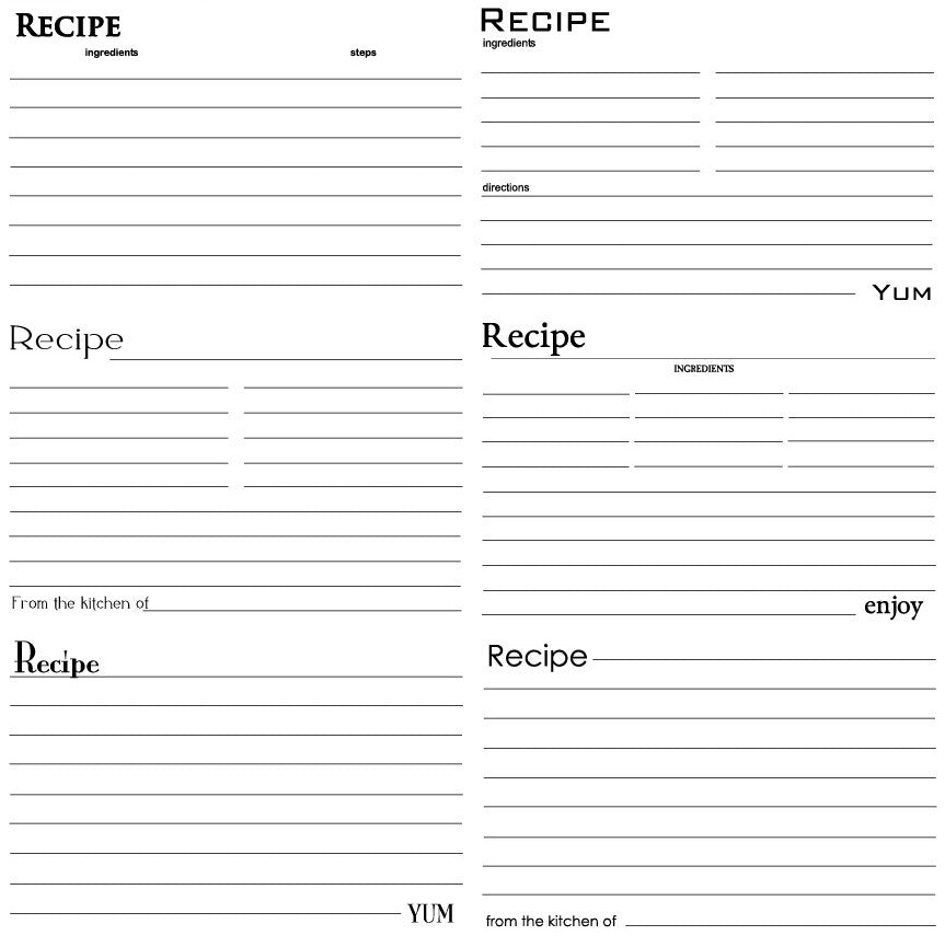 Black & White Recipe Cards