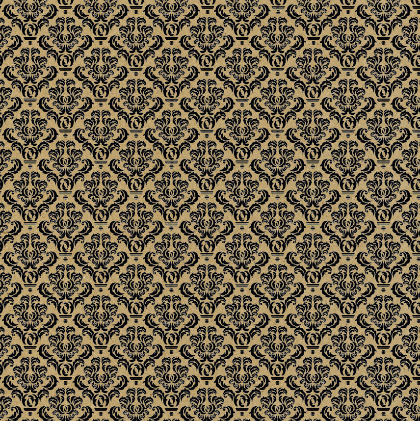 Black and Kraft Damask Paper
