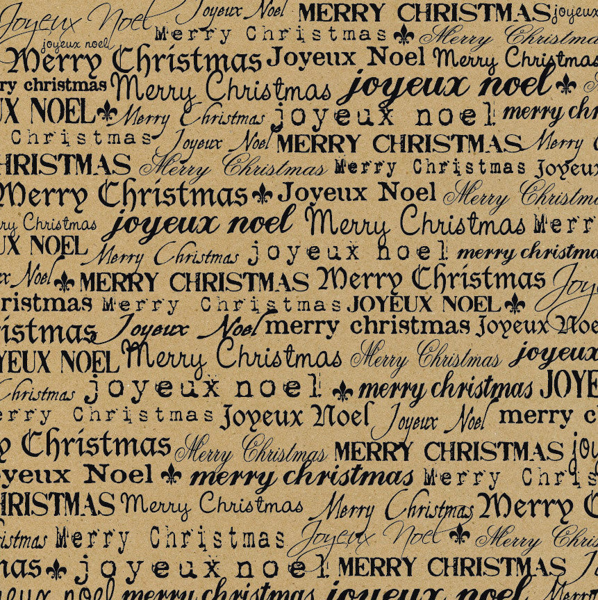 Farmhouse Christmas: Black and Kraft Merry Christmas Paper