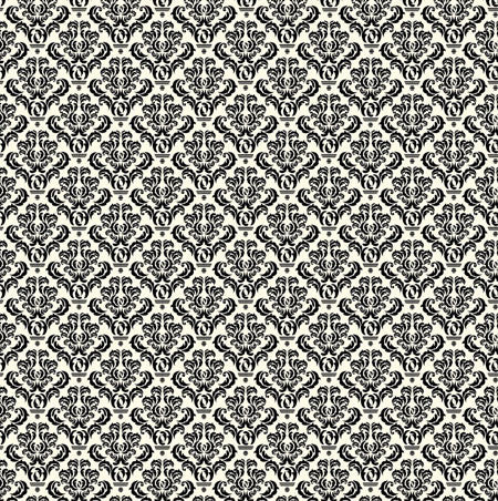 Black and Ivory Damask Paper