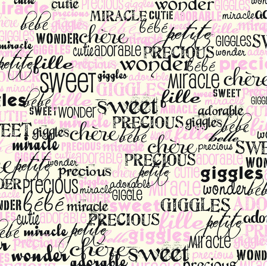 Baby Girl Words on Ivory Paper