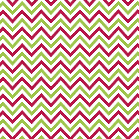 Jolly: Red & Green Mini Chevron on White
