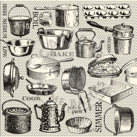 Farmhouse Kitchen Pots and Pans on Ivory Paper