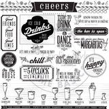 Mixology: Happy Hour Sayings Paper