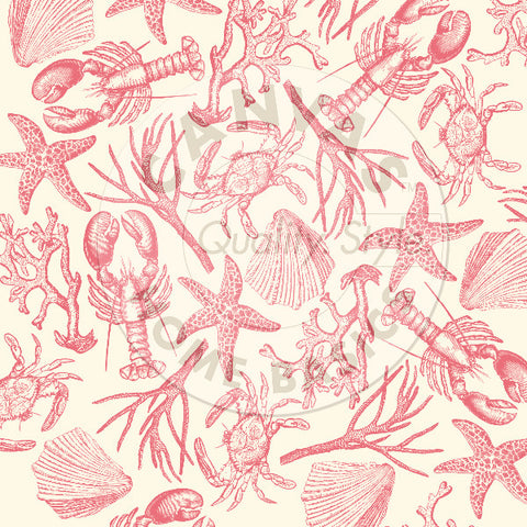Nautical: Coral Claws & Shells on Ivory