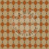 Haunt It: Orange & Black Stitched Diamonds on Kraft Paper