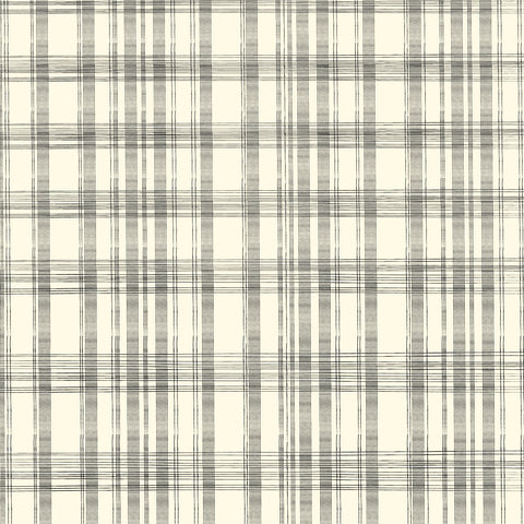 Black and Ivory Plaid Paper