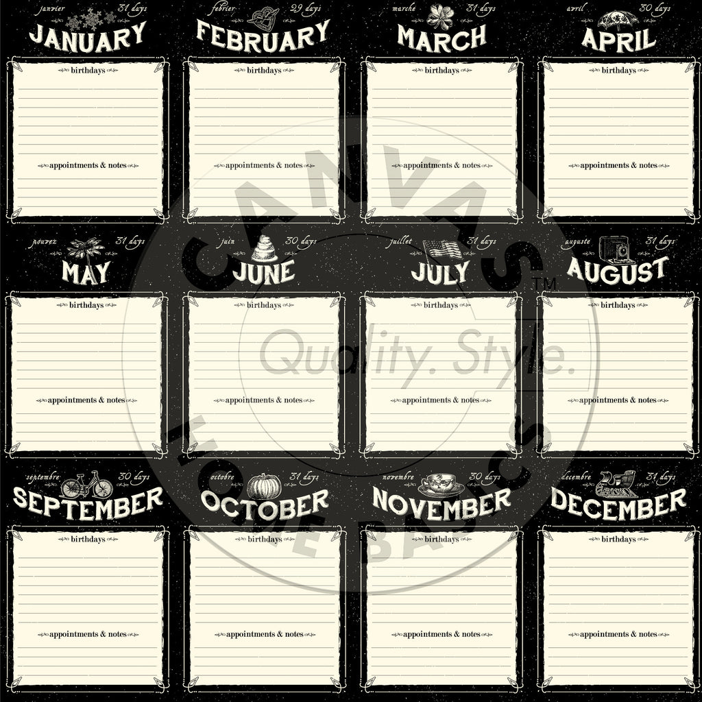 Heirloom Collection:  Calendar Months Paper