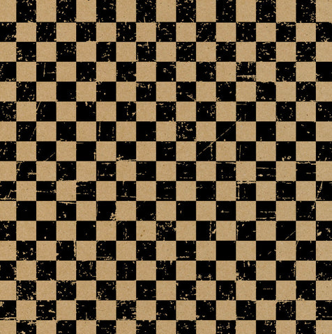 Grunge Check Kraft and Black