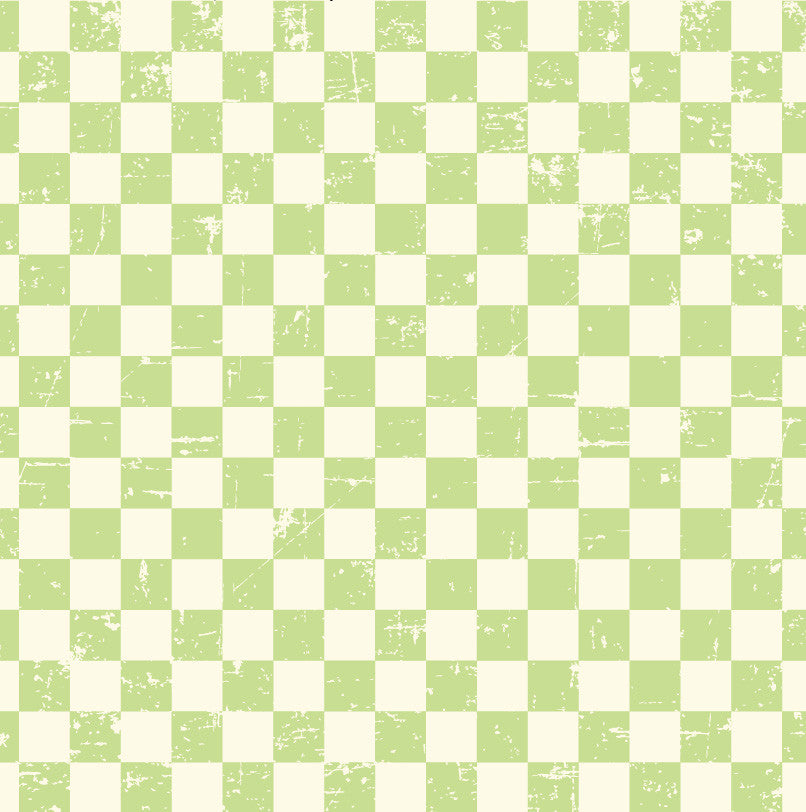 Grunge Check Ivory and Green