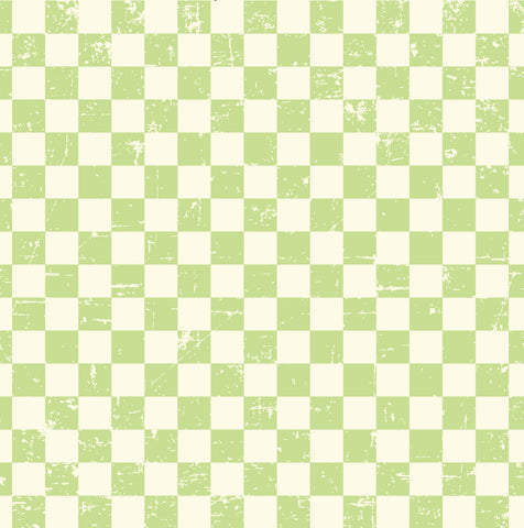 Grunge Check Ivory and Green Paper