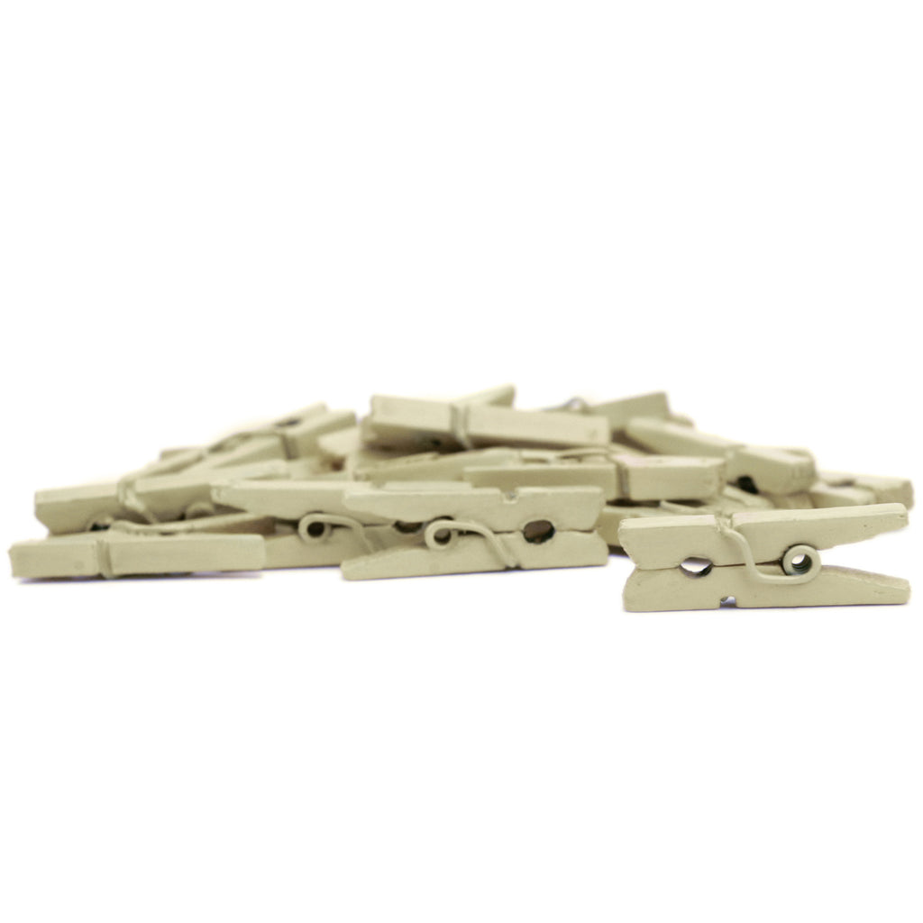Mini Clothespins - Ivory (25 Pieces)
