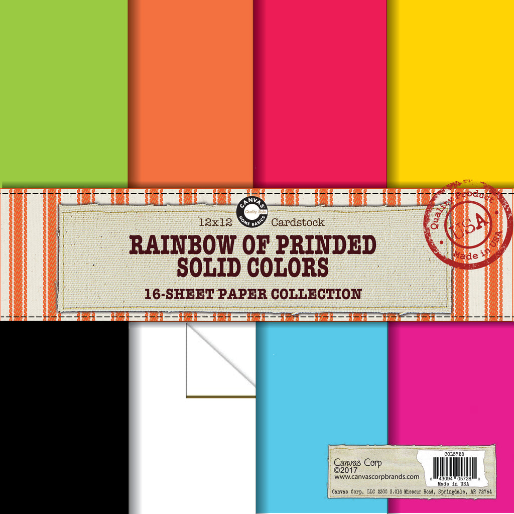 Canvas Corp Solid Printed Cardstock Rainbow Paper Collection