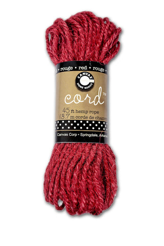 Cord - Hemp Rope Hank - Red - 45'