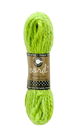 Cord - Hemp Rope Lime Green 45'